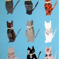 9 Cats with Gold Collars