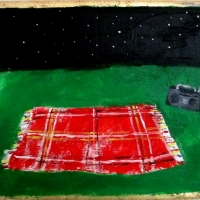 Red Flannel Blanket with Boombox