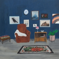 Blue Room with Rug