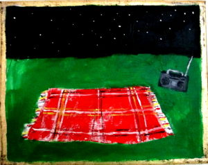 red-flannel-blanket-with-boombox